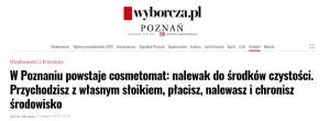 Nagłówek artykułu Gazety Wyborczej o Cosmetomacie